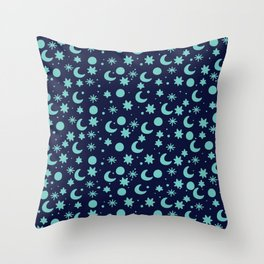 Cosmis space in blues colors Throw Pillow