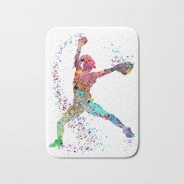 Baseball Softball Pitcher Watercolor Print Art Print Girl's Softball Painting Bath Mat