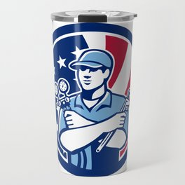 American Air-Con Serviceman USA Flag Icon Travel Mug