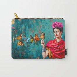 Frida Kahlo self-portrait butterflies pink flowers grunge Carry-All Pouch