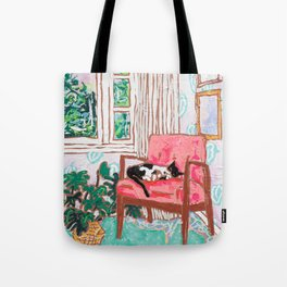 Little Naps - Tuxedo Cat Napping in a Pink Mid-Century Chair by the Window Tote Bag