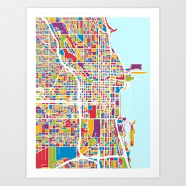 photo regarding Printable Maps of Chicago named Chicago Map Artwork Prints Culture6