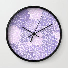 Lavender Dahlias Wall Clock