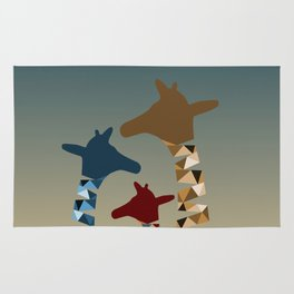 Abstract Colored Giraffe Family Rug