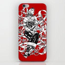 Lady in Belts Fantasy on red.  Yury Fadeev. iPhone Skin