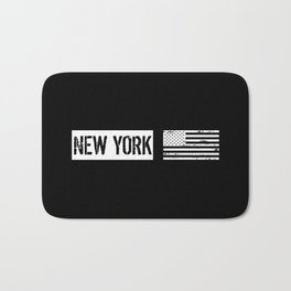 Black & White U.S. Flag: New York Bath Mat