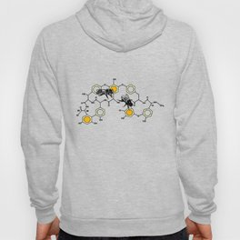 Bees making honey on macromolecular structure as a bee house  Hoody