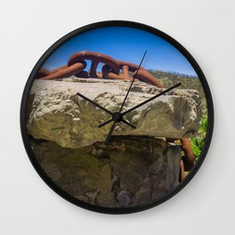 Chain Across Rock Wall Clock