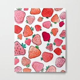 Strawberry Pattern Metal Print