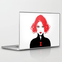 black widow Laptop & iPad Skins featuring Black Widow by Irene Flores