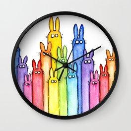 Rainbow Bunnies Wall Clock
