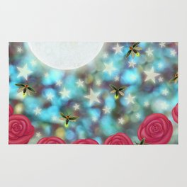 the moon, stars, fireflies, & roses Rug