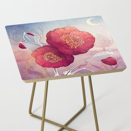Christmas Roses :: Red Petals, Frosted Leaves Side Table