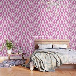 Art Deco Jagged Edge Pattern Pink Wallpaper