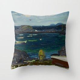 The Harbor, Monhegan Coast, Maine, 1913 Throw Pillow