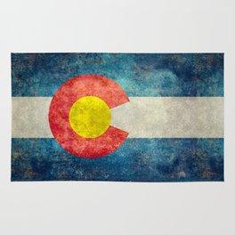 Colorado State Flag in Vintage Grunge Rug