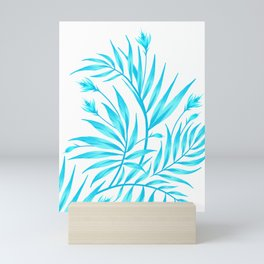Waikiki Palm - White / Aqua Mini Art Print