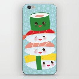 I love sushi. Kawaii funny sushi set with pink cheeks and big eyes, emoji. Blue japanese pattern iPhone Skin