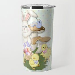 White Rabbit and Easter Friends Travel Mug