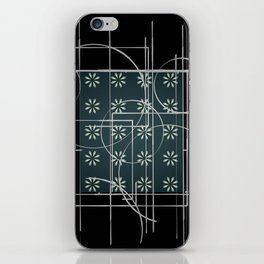 Black Green Grey Digital Daisy Abstract iPhone Skin