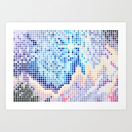Pixelated Nebula Blue Art Print