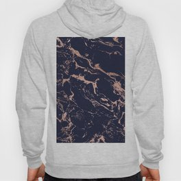 Modern chic navy blue rose gold marble pattern Hoody