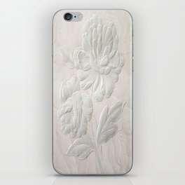 Embossed Painterly White Floral Abstract iPhone Skin