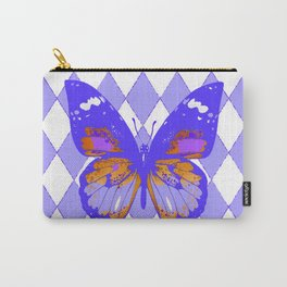 ABSTRACTED PURPLE BUTTERFLY  &  LILAC ARGYLE PATTERN Carry-All Pouch