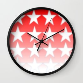 Red and White Stars, Faded Stars, Patriotic Wall Clock