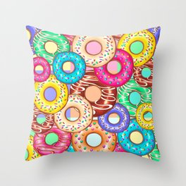 Donuts Punchy Pastel flavours Pattern Throw Pillow