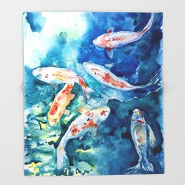 Koi Fish Watercolor by Julesofthsea Throw Blanket