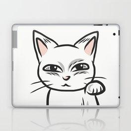 White funny cat Laptop & iPad Skin