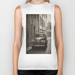 Vintage Chevrolet pickup on a cobbled street Biker Tank
