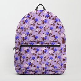 Lilac pink navy blue watercolor hydrangea floral Backpack