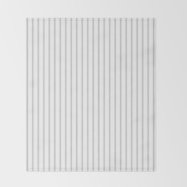 Dove Grey Pin Stripes on White Throw Blanket