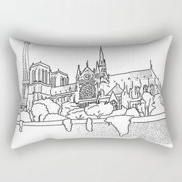 Notre Dame and Eiffel Tower travel scene Rectangular Pillow