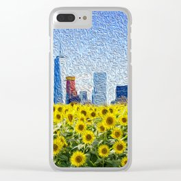 New York City Skyline Oil Paint View from Sunflower Field Clear iPhone Case