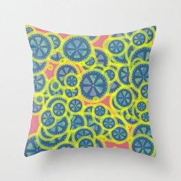 Random blue gearwheels Throw Pillow