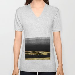 Black & Gold Stripes on White - Mix & Match with Simplicty of life Unisex V-Neck