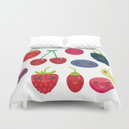 Kawaii Cherry Strawberry Raspberry Blackberry Blueberry Cranberry Cowberry Goji Grape Duvet Cover