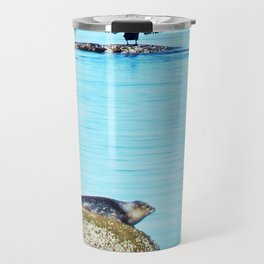Seal pup and Cormorant getting some Sun  Travel Mug
