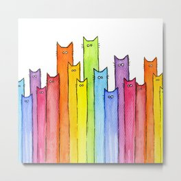 Cat Rainbow Watercolor Whimsical Animals Cats Pattern Metal Print