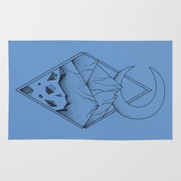 Geometric mountain in a diamonds with moon (tattoo style - black and white) Rug