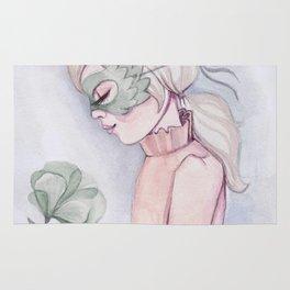 Girl Holding Flower Rug
