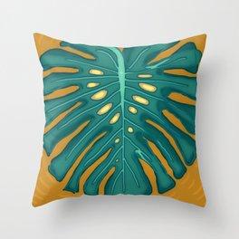 Monstera Flying to Autumn 2 Throw Pillow