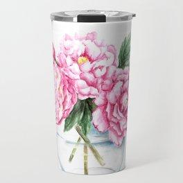 Pink Peony Painting, Watercolor Peony Art, Pink Flower Bouquet Travel Mug