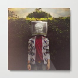 This TV haze sucks me through. I watch the world from the inside Metal Print