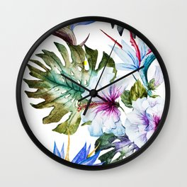 Watercolor Tropical Hibiscus Wall Clock