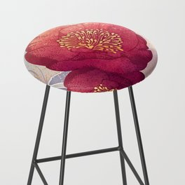 Christmas Roses :: Red Petals, Frosted Leaves Bar Stool