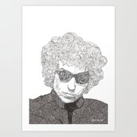bob dylan Art Prints featuring Bob Dylan  by Caitlin Dyas